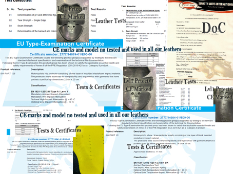Tests Reports & Certificates for Protectors & Leathers
